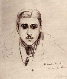 Retrato a lápiz por Jacques-Émile Blanche (Les Frémonts, Trouville, 1° de octubre de 1891).