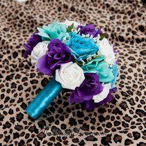 Purple, Turquoise And Aqua Teal/Tiffany Blue Round Bridal Bouquet With Malibu…