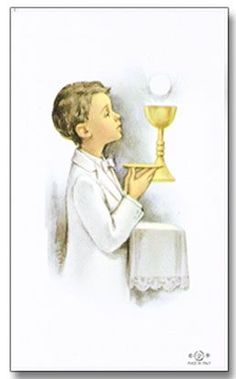 Personalized First Communion Holy Cards Boy: