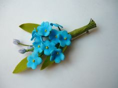 Blue Summer Flower Brooch, Forget-Me-Not Floral Bridal Brooch, Groom's Boutonniere, Bridesmaid Brooch, Wedding Brooch, Rustic Brooch