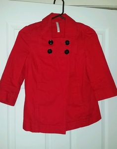 Old Navy Red Swing Jacket pea coat style cotton Size XS in Clothing, Shoes & Accessories | eBay
