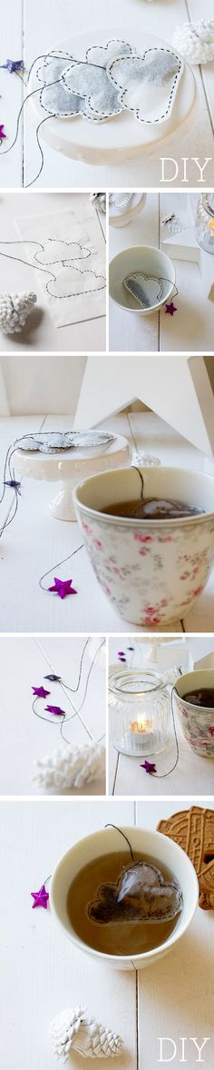 Cool mother's day gift idea Oh, homemade tea bags, this is so unique. Homemade Tea, Homemade Gifts, Diy Cadeau Noel, Little Presents, Tea Gifts, My Tea, Diy Tutorial, Christmas Diy, Diy And Crafts