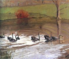 Black swans have always been a part of Chartwell's landscape. Here is a painting of them by Winston