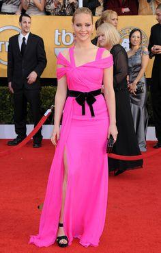 Jennifer Lawrence  Hot Short Dress with black velvet belt #Fashion