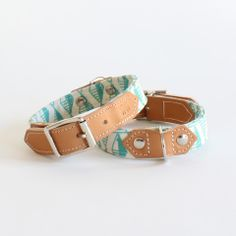 Pet accessories mint green geometric dog collar at Hiro + Wolf in East London boutique Marcos and Trump off of Columbia Road