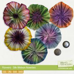 Flowers - Ribbon Rosettes | CU/Commercial Use #digital #scrapbook #design tools at CUDigitals.com #digitalscrapbooking