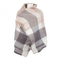 Sjaal omslagdoek poncho grote sjaal zalm grijze TastefulTas.nl