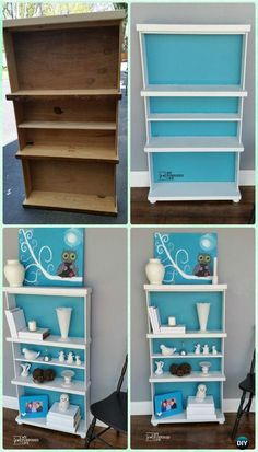 DIY Repurposed Drawers Bookcase Instruction - Instructions - Practical Ways to Recycle Old Drawers for Home Old Drawers, Dresser Drawers, Dressers, Furniture Makeover, Furniture Decor, Drawer Shelves, Idee Diy, Repurposed Items, Country Furniture