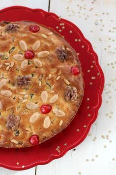 Zelten: Trentino & South Tyrol Christmas fruit cake decorated with fruits and nuts.