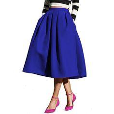Street Style Women's Solid Black Casual Flare High Waist Pleated Vintage Midi Skirt