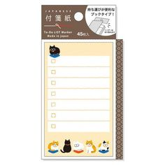 Cat To-Do List Sticky Notes Pad (45 sheets) Mind Wave List Marker