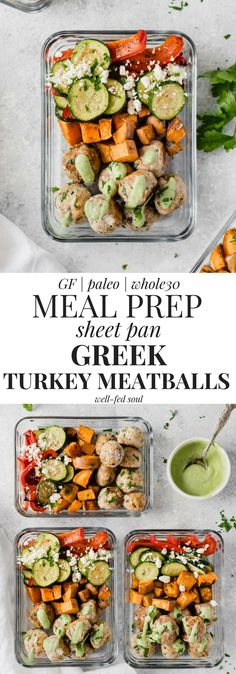 Paleo Greek Turkey Meatballs and veggies are the perfect meal prep recipe, and made using just two sheet pans! Topped with an easy, refreshing avocado sauce, these meal prep bowls are easily made Paleo or Whole30 compliant! #mealprep #paleo #sheetpan #greek #turkeymeatballs #whole30 #onepan #easydinner #healthydinnerrecipe #glutenfree #meatballs