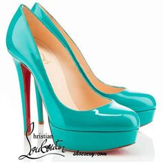 Christian Louboutin Bianca 140mm Teal Patent Pumps--Christia... - Polyvore