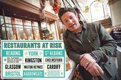 Jamie Oliver închide 12 restaurante din Marea Britanie. Celebrul chef va rămâne, totuși, cu restul de 25, iar angajaţii rămaşi fără locuri de muncă vor fi relocaţi în alte localuri din grup Jamie Oliver, St Albans, Milton Keynes, Cardiff, Kingston, Glasgow, Bristol, Reading, Restaurants