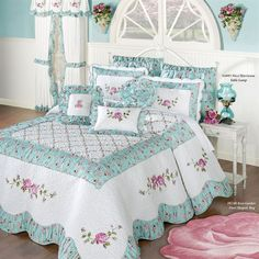 Wake in your very own Rose Garden with this quilted oversized bedspread. The cotton/polyester Grande Bedspread features rose and vine embroidery, vermicelli quilting, a trellis pattern, and a shirred floral print. Cute Bedding, Floral Bedding, Pink Bedding, Black Bedding, Luxury Bedding, Small Pillows, White Pillows, Teen Room Decor, Bedroom Decor