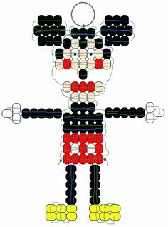 Mickey Mouse beadie pattern how cute Pony Bead Projects, Pony Bead Crafts, Beaded Crafts, Beading Projects, Beading Tutorials, Pony Bead Patterns, Beaded Jewelry Patterns, Beading Patterns, Bracelet Patterns