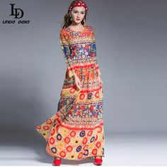 Autumn Winter Women Maxi Dress 3/4 Sleeve Plantain leaves Print Casual Long Dress Floor Length Like and Share if you agree! www.sukclothes.co... #shop #beauty #Woman's fashion #Products