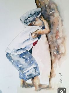 """""""Ready or not here I come"""" – by the South African artist Arie Swanepoel - ART Watercolor Painting Watercolor Pictures, Watercolor Artists, Watercolor Techniques, Watercolor Portraits, Watercolor Landscape, Painting Techniques, Watercolour Painting, Painting & Drawing, Watercolors"""