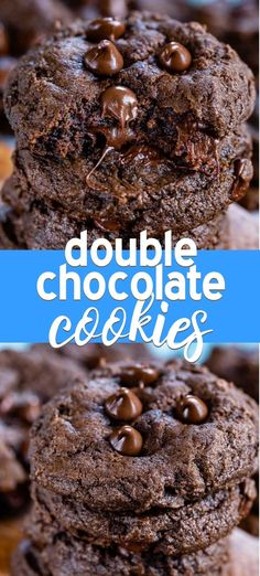 chocolate cookie recipes Double Chocolate Chip Cookies turn my favorite chocolate chip cookie recipe into CHOCOLATE Chocolate Chip Cookies! You can make these easy cookies anytime and theyre so soft and chewy. Everyone loves them! Biscuits Double Chocolat, Biscuits Au Cacao, Cookies Et Biscuits, Double Chocolate Chip Cookie Recipe, Chocolate Recipes, Chocolate Chocolate, Hershey Cocoa Cookie Recipe, Cookies With Chocolate Chips, Chocolate Chip Brownies