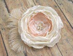 Vintage Style Wedding Flower Hairpiece Feather