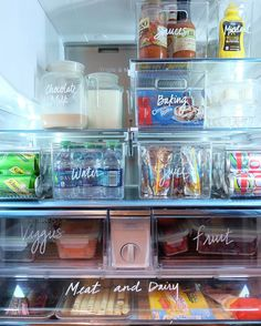 "Clever and attractive via The Home Edit ® (@the_home_edit) on Instagram: ""Organize your fridge in 3 steps: Purge old items, group like items, and organize them into labeled containers and drawers."""