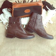Clarks dark chocolate ankle boots Awesome condition! Worn about 2x. Bottoms are in great shape! Very comfy. Both buckles and zippers on the sides are in fab shape. Heels are not worn at all. Leather upper. Balance is man made. Look brand new! Make a reasonable offer please  Clarks Shoes Ankle Boots & Booties