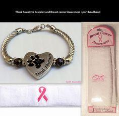 Think Pawsitive Bracelet & Breast Cancer Awareness Pink Ribbon Headband Dog Paw #Unbranded