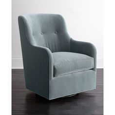 Cali St. Clair Sky Blue Velvet Swivel Chair ($1,399) ❤ liked on Polyvore featuring home, furniture, chairs, sky blue velvet, sky blue chair, spinning chair, handmade furniture, velvet tufted chair and hand made furniture