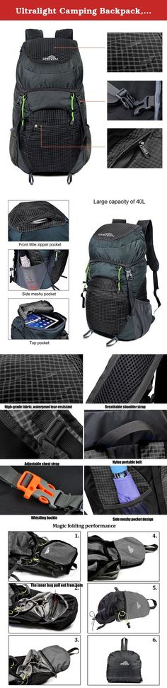 Ultralight Camping Backpack, Large Capacity 40L Packable Daypack, Draway Waterproof Backpacks for Camping Hiking Outdoor Traveling Cycling. Product Feature: If you like outdoor sport, Draway large 40L lightweight waterproof hiking backpack is design for you : 1.40L large capacity bag could take all your belongings, like your laptop,hammock, clothes, towel, journal and etc, enough for your a day trip or a week long journey . 2.Waterproof nylon material,could protect all the things in the…