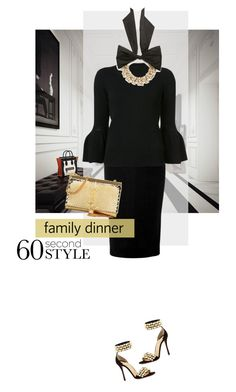 """""""Family Dinner"""" by chloe-86 ❤ liked on Polyvore featuring Victoria Beckham, Carolina Herrera, Christian Louboutin, Yves Saint Laurent, Oscar de la Renta, family, Dinner and 60secondstyle"""