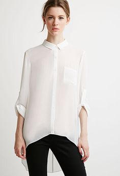 Sheer Crepe Pocket Shirt | Forever 21 - 2002247536