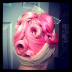 #pink hair curls