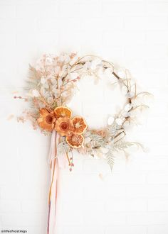 Dried Flower Wreaths, Dried Flowers, Floral Wreaths, Yarn Wreaths, Ribbon Wreaths, Burlap Wreaths, Door Wreaths, Christmas Diy, Christmas Wreaths