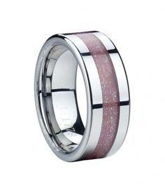 Flat Tungsten Ring with Pink Carbon Fiber Inlay
