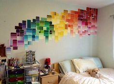 Now I want to pillage home depot of their paint swatches xD Paint Chip Art, Paint Chips, College Room, College Life, Dorm Room, Paint Swatches, Room Paint, Home Decor Furniture, Diy Painting