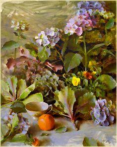"Daniel Keys | ""Hydrangeas with Kale"" | Oil, 30 x 24"""