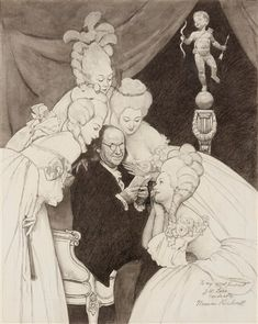 Original charcoal drawing by Norman Rockwell entitled Ben Frankin's Belles. Study for illustration published in Poor Richard: The Almanacks for the Years Circa signed. Rockwell paintings for sale at M. Norman Rockwell Art, Norman Rockwell Paintings, American Artists, Visual Identity, Watercolor Illustration, Illustrators, The Incredibles, Fine Art, Artwork