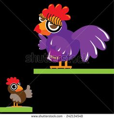 Vector cartoon chicken and chick