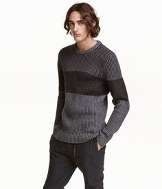 Dark gray. Color-block sweater in a soft rib knit with wool content. Ribbing at cuffs and hem.