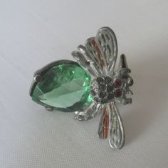 Art Deco Rhinestone Bee Insect Brooch PIn Earring by vgvintage, $20.00