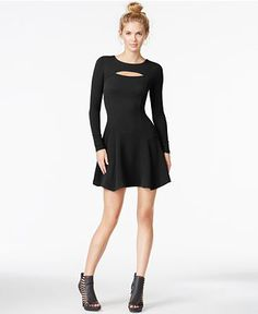 Bar III Textured Cutout Fit & Flare Dress, Only at Macy's - Juniors Dresses - Macy's
