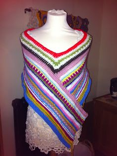 Hooked !! A Crochet Addict's Blog - My Poncho Wrap - inspired by a knitted version that I saw on here a long time ago. I finally got around to starting one & writing down the pattern too!