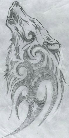 I'm picky with wolf tattoos, especially tribal ones. But I like this Lobo Tribal, Arte Tribal, Tribal Art, Tribal Symbols, Art Drawings Sketches, Animal Drawings, Cool Drawings, Tattoo Drawings, Tattoo Pics