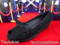 Womens shoes STEVE MADDEN black SUEDE LEATHER Wedge High Heel Pumps slip-on 9 M