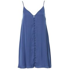 CARLY MINI SLIP DRESS (90 AUD) ❤ liked on Polyvore featuring dresses, lined dress, button front dress, strap dress, short strappy dress and blue color dress
