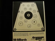 Vintage Crossman Billards Shooting Games Target by BonesInTheAttic on Etsy https://www.etsy.com/listing/101627820/vintage-crossman-billards-shooting-games