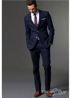 This is very similar to the style I want my husband and the groomsmen to wear. I want a navy suit that is as close as possible to the midnight color of the bridesmaids dresses with an orchid tie; the groomsmen and bridesmaids would match. However, to distinguish my husband, I would want a patterned tie or a midnight colored tie for him.