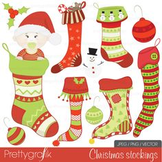 11 christmas stockings and ornament clipart for invitations, scrapbooking, cards and more