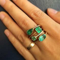 """Another View: Gillian Conroy Emerald Rings #saturdaystack #showmeyourrings @gillianconroyjewelry"""