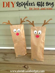 DIY Reindeer Gift Bag For Beer & Wine Thank You Gifts | A Bride On A Budget
